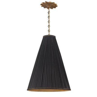 Blake 1-Light Mini Pendant Finish: Aged Brass, Shade Color: Black