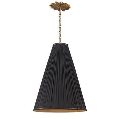 Austyn 1-Light Mini Pendant Finish: Aged Brass, Shade Color: Black