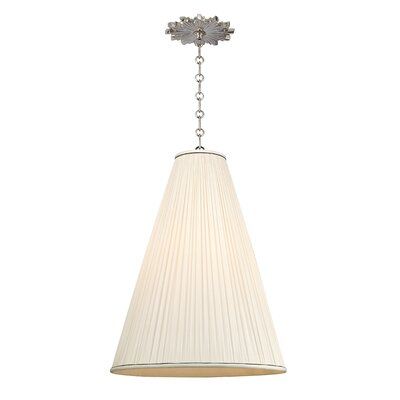 Austyn 1-Light Mini Pendant Shade Color: Natural, Finish: Polished Nickel