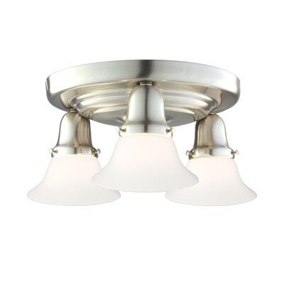 Mckenna 3-Light Glass Shade Semi-Flush Mount Finish: Satin Nickel