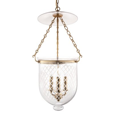 Hampton 3-Light Pendant Glass Pattern: Diamond, Finish: Old Bronze