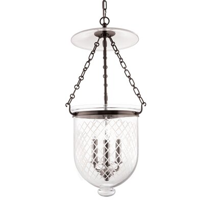 Hampton 3-Light Pendant Finish: Old Bronze, Glass Pattern: Diamond