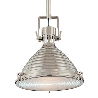 Dimas 1-Light Metal Pendant Finish: Polished Nickel