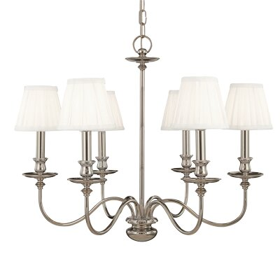 Jil 6-Light Shaded Chandelier Finish: Aged Brass