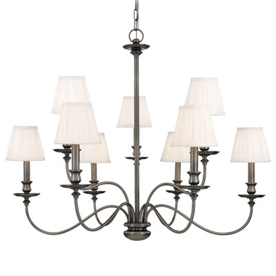 Menlo Park 9-Light Shaded Chandelier Finish: Aged Brass
