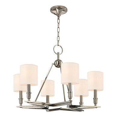 Merseles 6-Light Brass Shaded Chandelier Shade Color: Cream