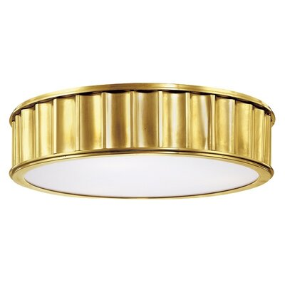 Middlebury 2-Light Flush Mount Finish: Aged Brass, Size: 4H x 16W