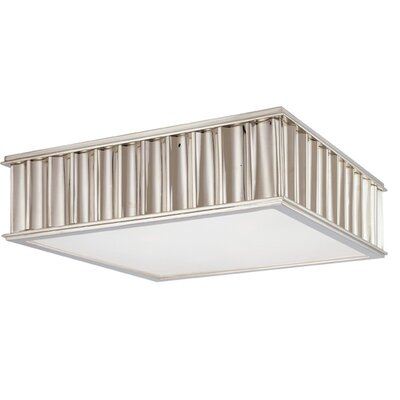 Middlebury 2-Light Square Flush Mount Finish: Polished Nickel, Size: 4H x 13W x 13L