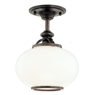 Monica 9 1-Light Semi Flush Mount Finish: Polished Nickel, Size: 12H x 12W