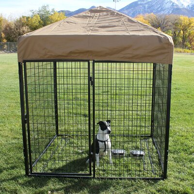 Modular Complete Welded Wire Steel Yard Kennel Size: 72 H x 72 W x 144 L, Color: Beige