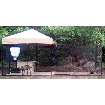 Alicia Welded Wire Steel Modular Yard Kennel Size: 72 H x 96 W x 192 L, Color: Beige