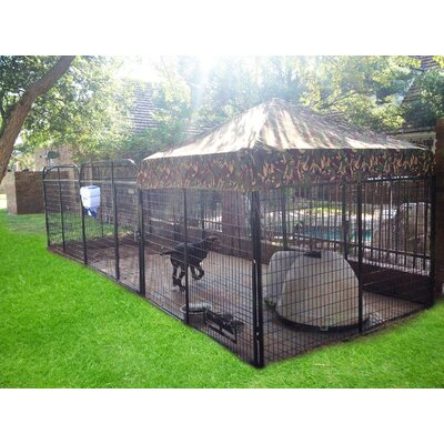 Alicia Expanded Metal Yard Kennel Size: 72 H x 72 W x 192 L, Color: Camouflage