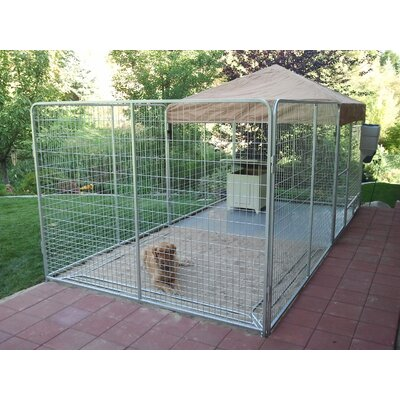 Alicia Galvanized Steel Yard Kennel Size: 72 H x 72 W x 192 L, Color: Beige