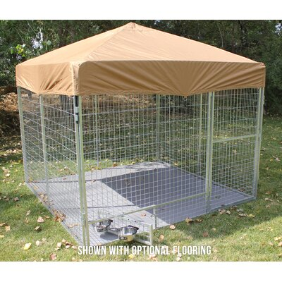 Modular Complete Galvanized Steel Yard Kennel Size: 72 H x 96 W x 192 L, Color: Beige