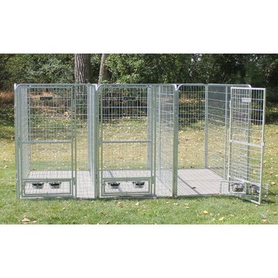 3 Dog Galvanized Steel Yard Kennel