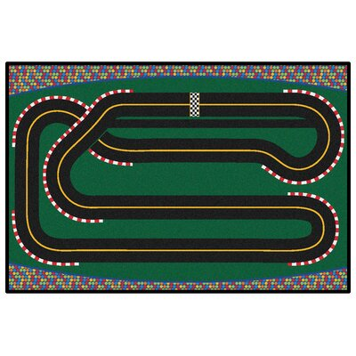 Green Super Speedway Racetrack Area Rug Rug Size: Rectangle 4 x 6