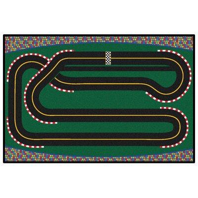 Green Super Speedway Racetrack Area Rug Rug Size: 4 x 6