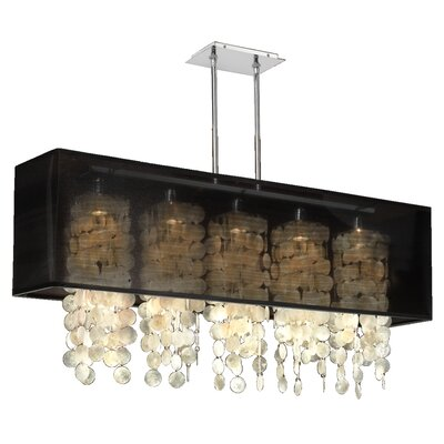 Salerna 5-Light Kitchen Island Pendant Shade Color: Black