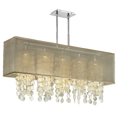 Salerna 5-Light Kitchen Island Pendant Shade Color: Taupe