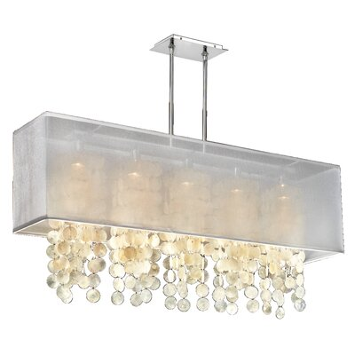 Salerna 5-Light Kitchen Island Pendant Shade Color: White