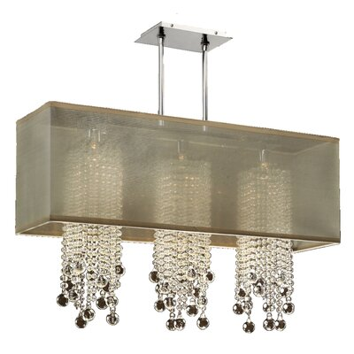 Salerna Modern 3-Light Crystal Pendant Shade Color: Taupe