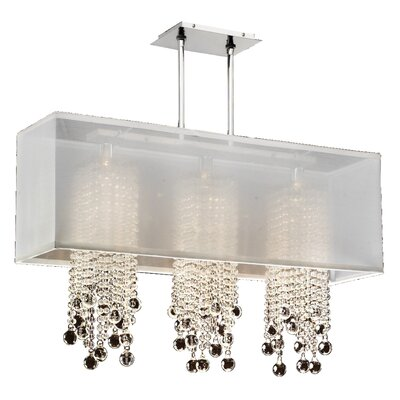 Salerna Modern 3-Light Crystal Pendant Shade Color: White