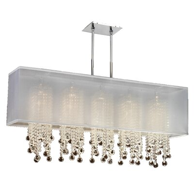Salerna 5-Light Crystal Pendant Shade Color: White