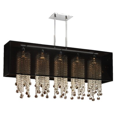 Salerna 5-Light Crystal Pendant Shade Color: Black