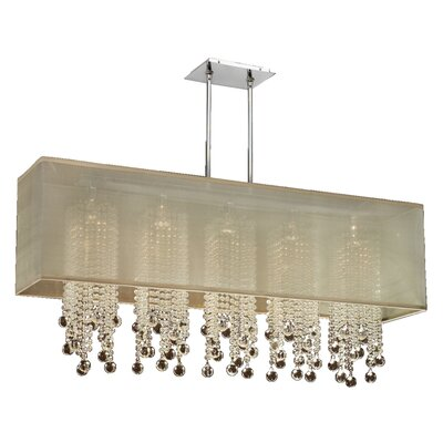 Salerna 5-Light Crystal Pendant Shade Color: Taupe
