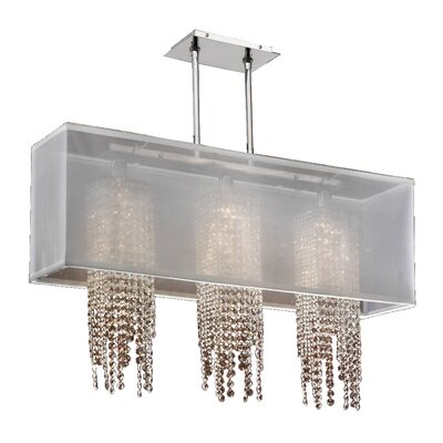Salerna 3-Light Crystal Pendant Shade Color: White
