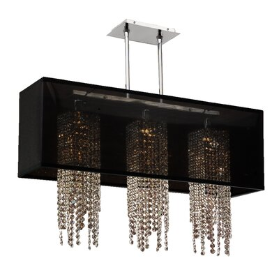 Salerna 3-Light Crystal Pendant Shade Color: Black
