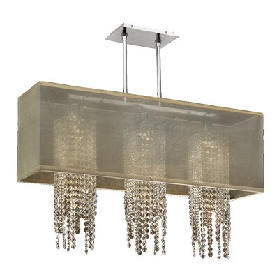 Salerna 3-Light Crystal Pendant Shade Color: Taupe