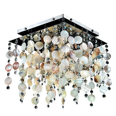 Cityscape Oyster Shell and Crystal Square 4-Light Flush Mount