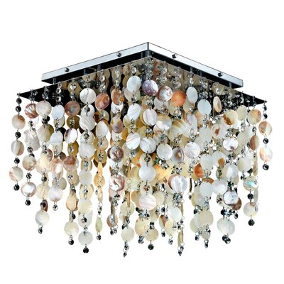 Cityscape Oyster Shell and Crystal Square 5-Light Flush Mount