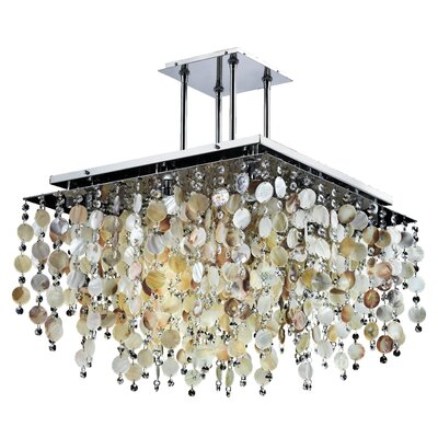 Cityscape Oyster Shell and Crystal 9-Light Semi Flush Mount