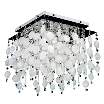 Cityscape Capiz Shell and Crystal 4-Light Flush Mount