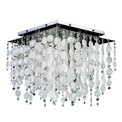 Cityscape Capiz Shell and Crystal 5-Light Flush Mount