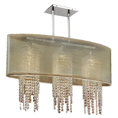 Kenlee Oval Shaded Strand 3-Light Kitchen Island Pendant Shade Color: Taupe