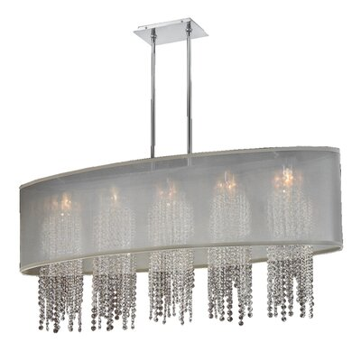 Kenlee Oval Shaded Strand 5-Light Kitchen Island Pendant Shade Color: Taupe
