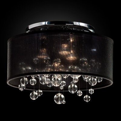 Thomasina 3-Light Semi Flush Mount Shade Color: Black