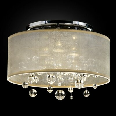 Thomasina 3-Light Semi Flush Mount Shade Color: Taupe
