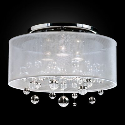 Thomasina 3-Light Semi Flush Mount Shade Color: White