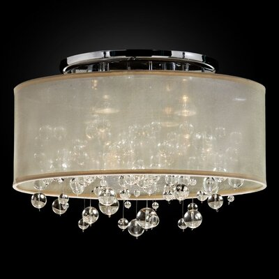 Thirza 4-Light Semi Flush Mount Shade Color: Taupe