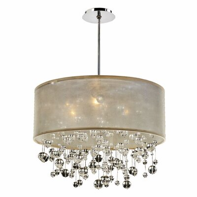 Elford 6-Light Drum Pendant Shade Color: Taupe