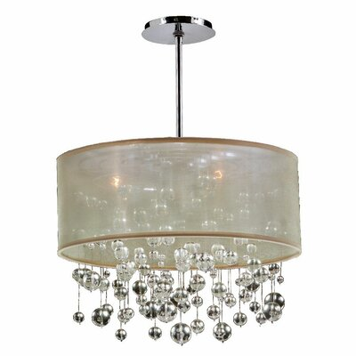 Zipporah 3-Light Drum Pendant Shade Color: Taupe, Size: 12.5 H x 18 W x 18 D