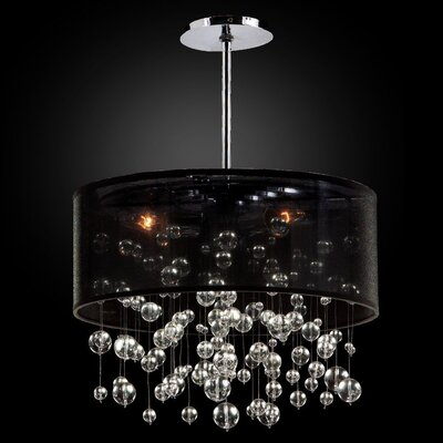 Zipporah 3-Light Drum Pendant Shade Color: Black, Size: 12.5 H x 18 W x 18 D