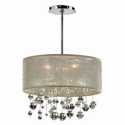 Zipporah 3-Light Drum Pendant Shade Color: Taupe, Size: 10.5 H x 15 W x 15 D