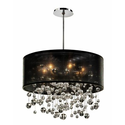 Elford 6-Light Drum Pendant Shade Color: Black