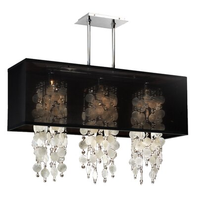 Salerna 3-Light Kitchen Island Pendant Finish: Black