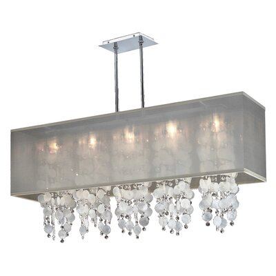 Salerna 5-Light Chrome Kitchen Island Pendant Shade Color: Taupe
